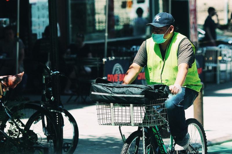 Man on bike during COVID lockdown